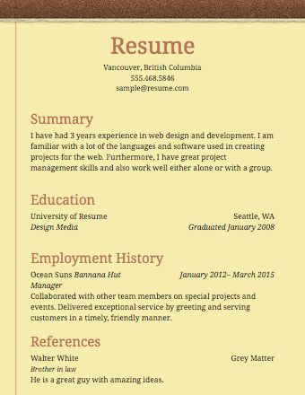 simple example resume resume cv cover letter basic sample resume ...