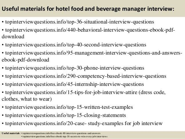 Top 10 hotel food and beverage manager interview questions and answers