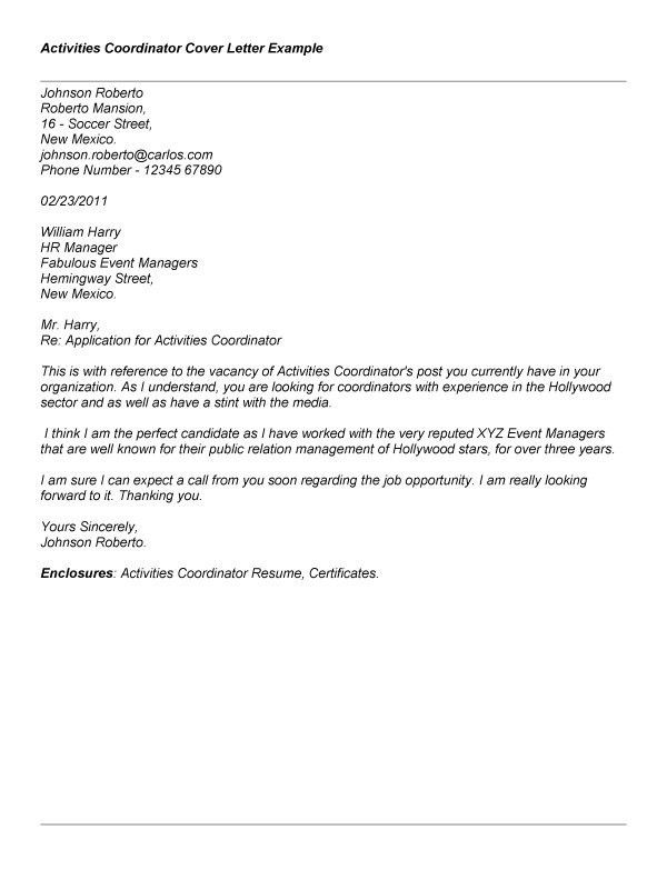 Cover letter for admissions coordinator : www.srar.com