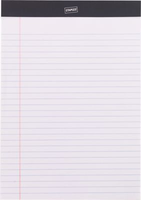 """Staples Perforated Note Pads, Wide/Letter Ruled, White, 8 1/2"""" x ..."""