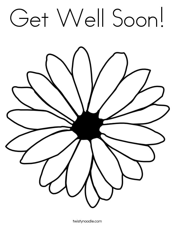Get Well Soon Printable Greeting Card Coloring Page