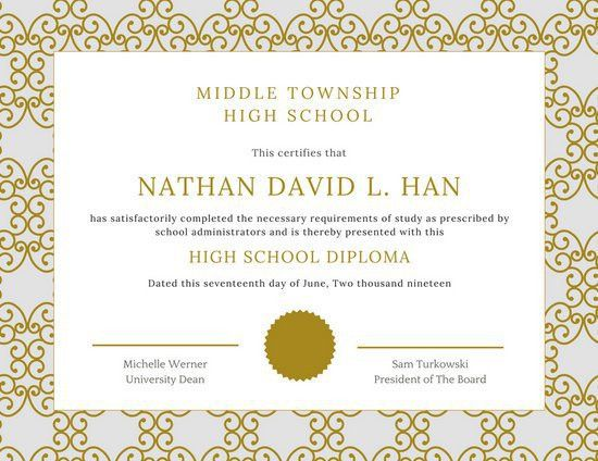 High School Diploma Certificate Templates - Canva