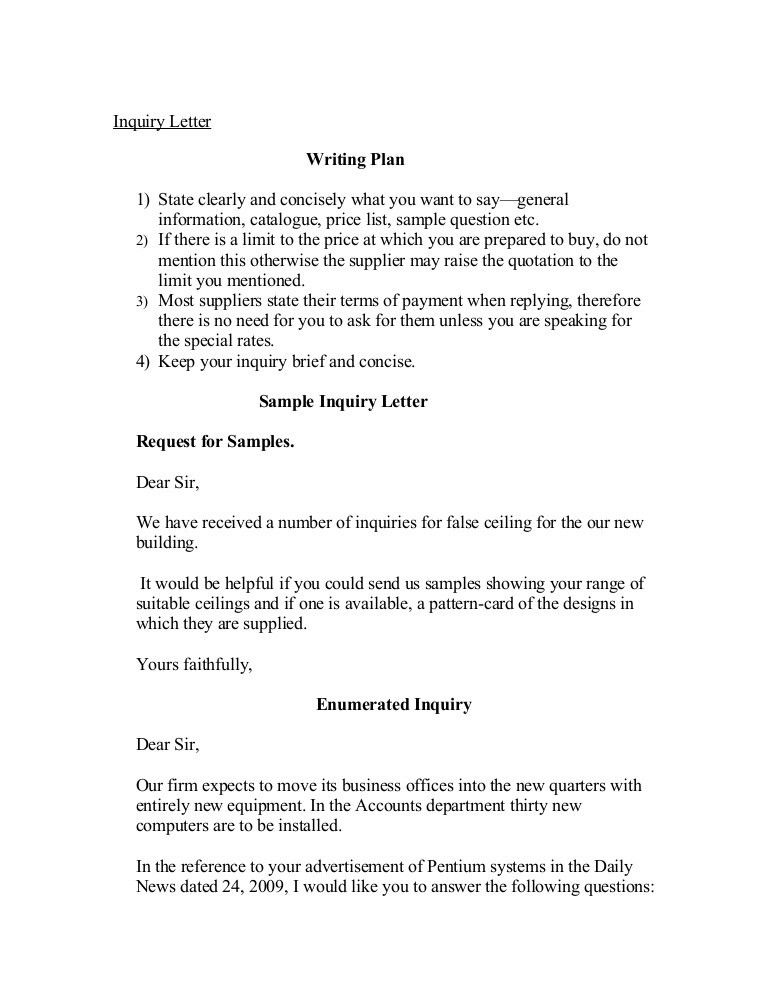 Format Of Letter Of Enquiry Enquiry Letters Formal Letters How