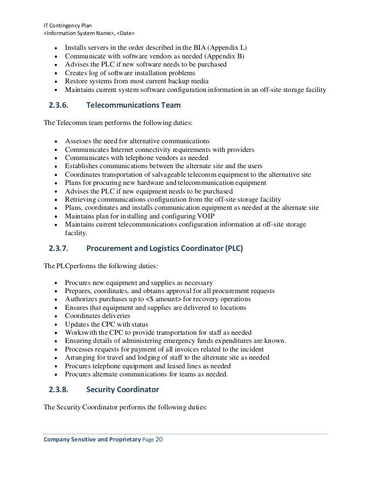 Information Technology Contingency Plan (Template)