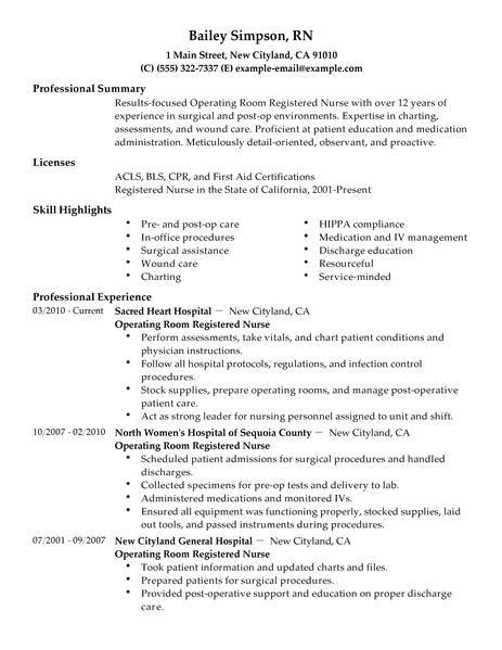 Best Operating Room Registered Nurse Resume Example | LiveCareer