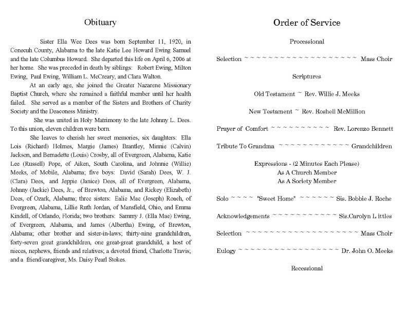 9 Best Images of Sample Obituary Funeral Program Templates ...