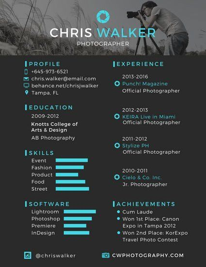 Black and Blue Photographer Resume - Templates by Canva
