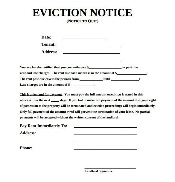 Eviction Letter Template Sample Eviction Notice Template 37 Free – Eviction Notice Letter Free Download