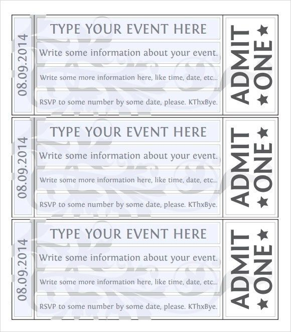 Free Template For Event Tickets | The Letter Sample