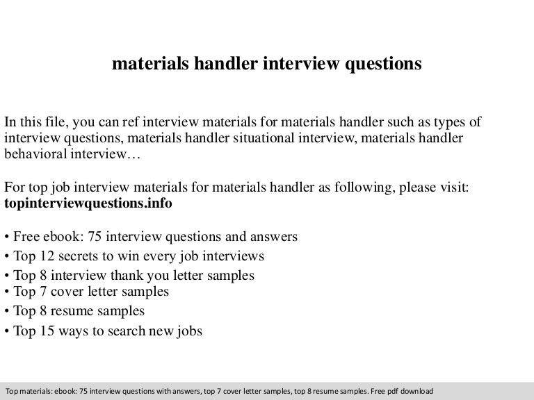 material handler resume samples - Winkd.co