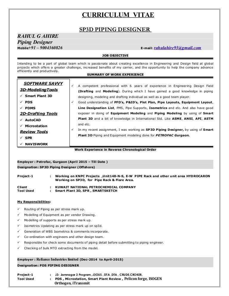 CV OF PIPING DESIGNER- RAHUL AHIRE-Gurgaon