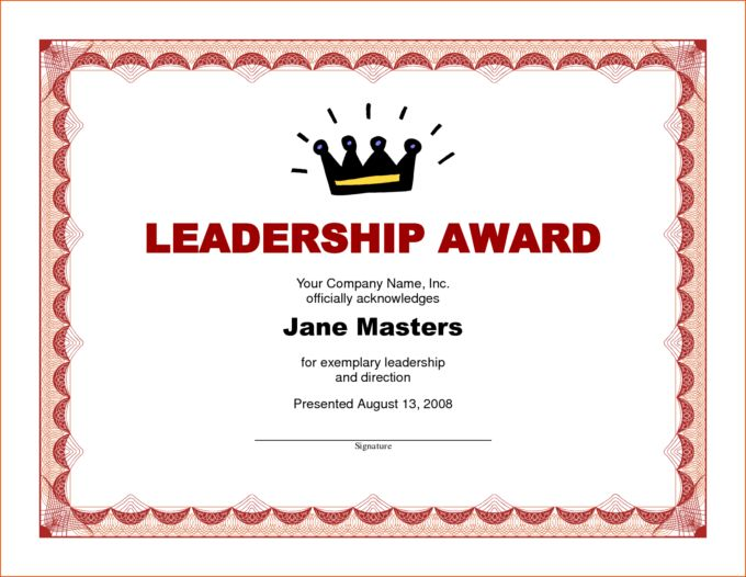 Office Leadership Award Certificate Template Sample For Word Or ...