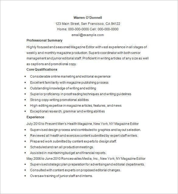 Writer Resume Template – 24+ Free Samples, Examples, Format ...