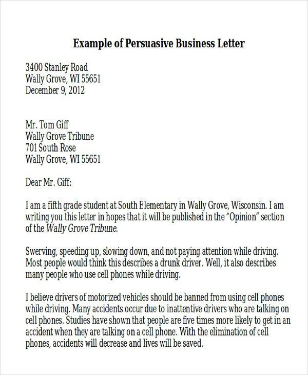 Sample Persuasive Business Letter - 7+ Examples in Word, PDF
