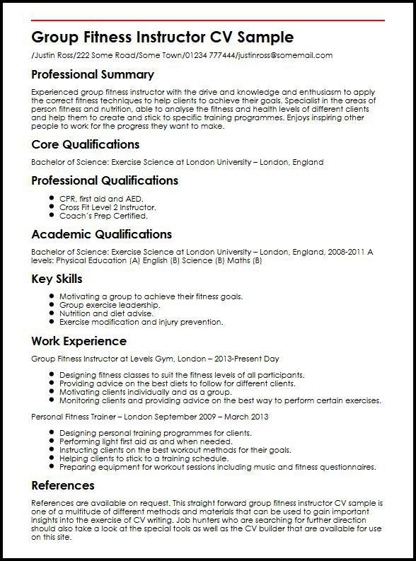 Group Fitness Instructor CV Sample | MyperfectCV