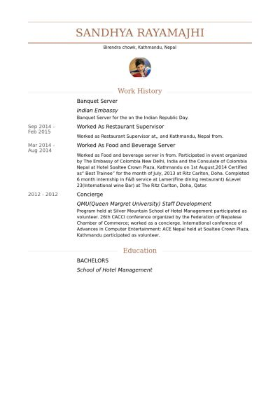 resume examples cocktail server resumes examples server resume ...
