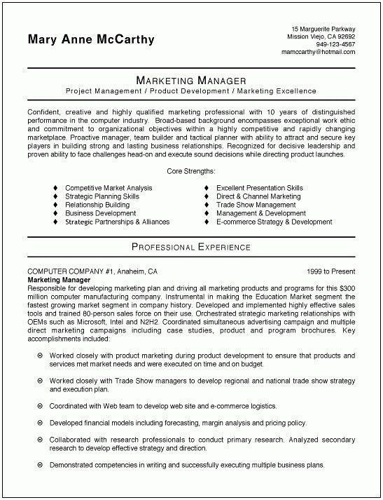Resume Sample Marketing Executive. marketing manager cv format ...