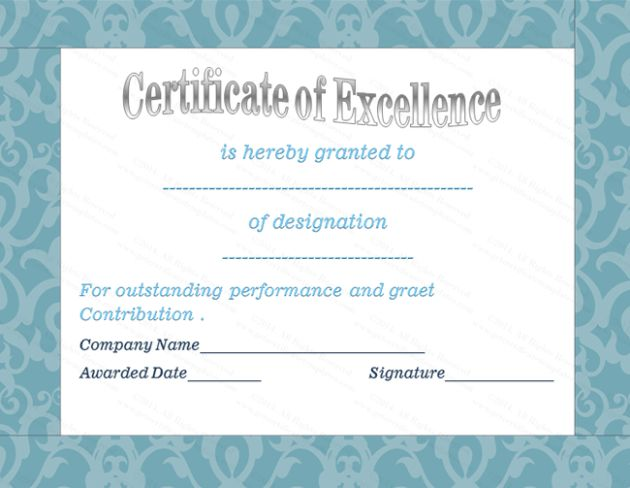 Elegant Certificate of Excellence Template Sample with Blue Border ...