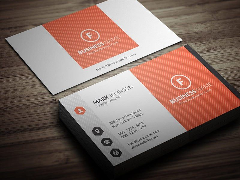 Bright Orange Corporate Business Card Template » Free Download ...