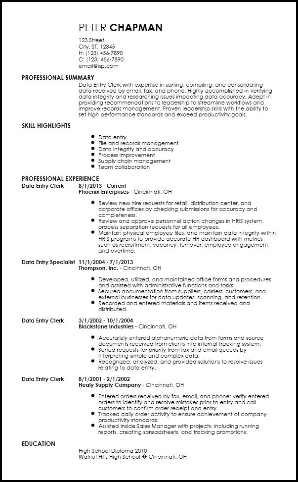 Free Contemporary Data Entry Resume Templates | ResumeNow