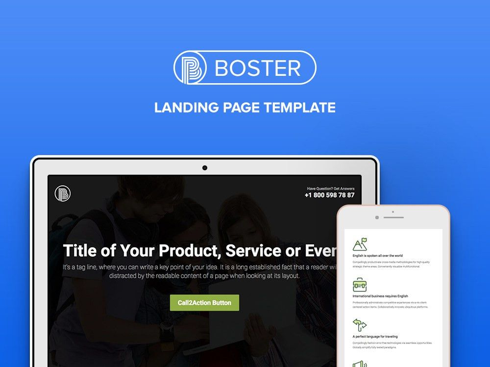 Booster - Free Business Bootstrap Landing Page Template - uiCookes