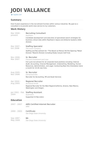 Recruiting Consultant Resume samples - VisualCV resume samples ...