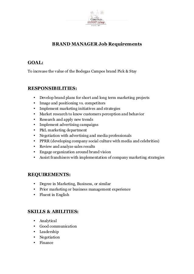 Brand Manager - Job Description