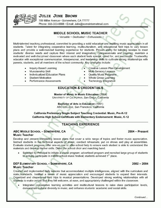 Music Teacher Resume Sample - Page 1 | Jobs jobs, Job interviews ...