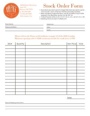 Ann Page Order Form & Reference Sheets | Personalization Tips