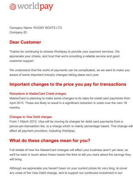 Latest WorldPay fee increase letters - Cardswitcher