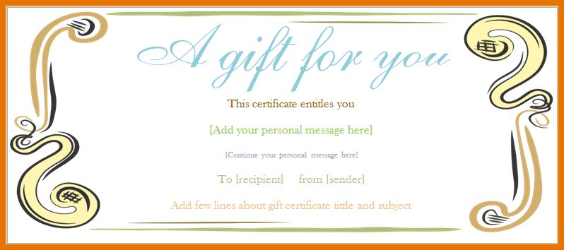 8+ templates for gift certificates | Itinerary Template Sample