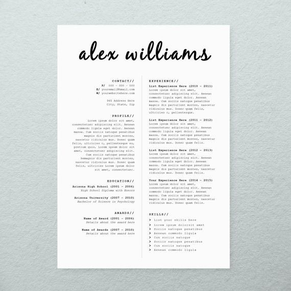 CV Design + Cover Letter, Printable Resume Template, INSTANT ...