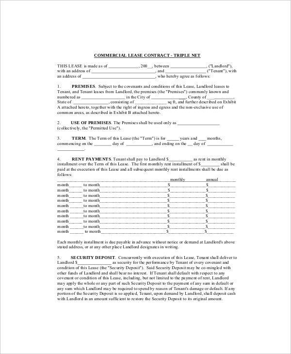 7+ Commercial Lease Templates - Free Sample, Example, Format ...