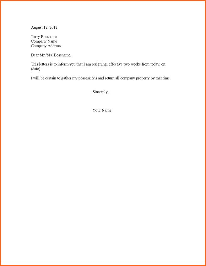 6+ two week notice letter of resignation - Budget Template Letter