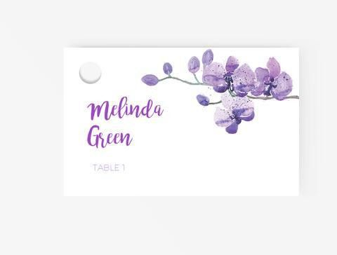 Escort/Place cards Editable MS Word Template DIY | Orchid Purple ...