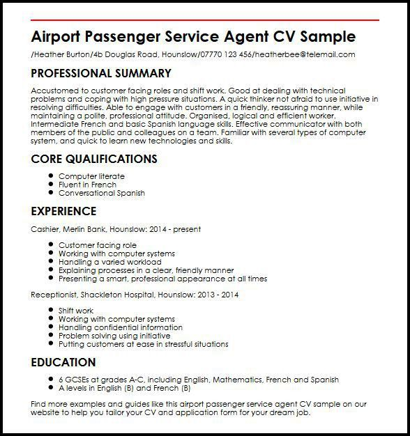 Airport Passenger Service Agent Cover Letter