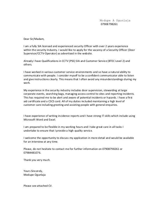 General cover letter 2