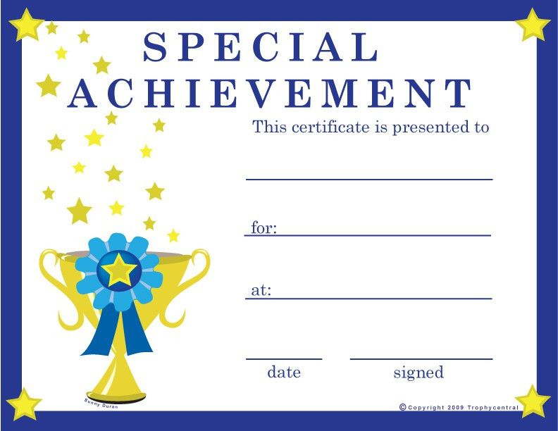 Free Special Achievement Certificates, Certificate Free Special ...