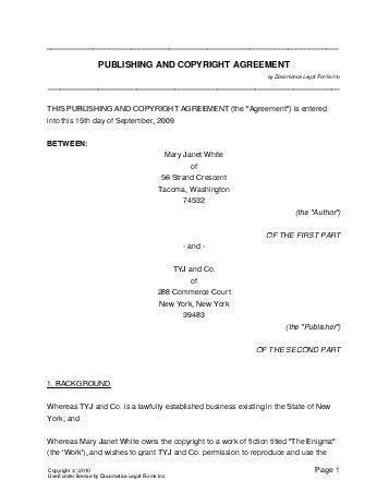 Free Publishing and Copyright Agreement (United Kingdom) - Legal ...