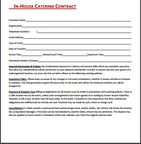 Catering Contract Template | Free Sample Templates
