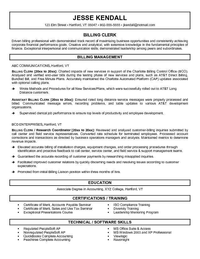 medical clerk sample resume haadyaooverbayresortcom - Medical Billing Resume Sample
