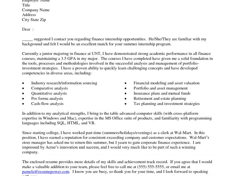 Shining Inspiration Cover Letters For Internships 13 Sample For ...