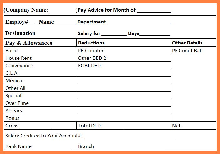 2+ free sample payslip format | Salary Slip