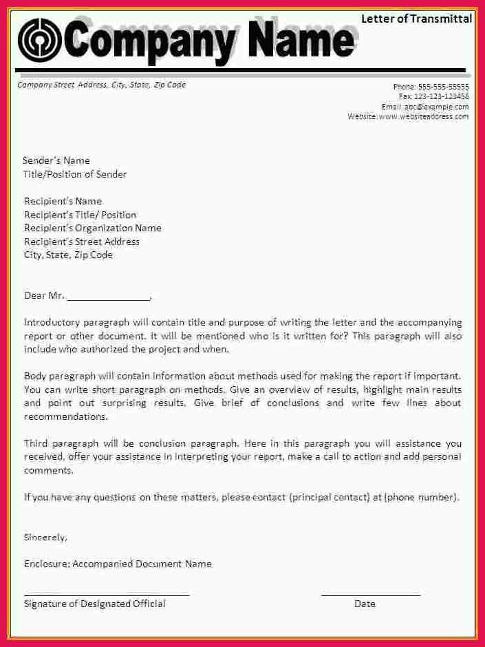 letter of transmittal example | sop examples