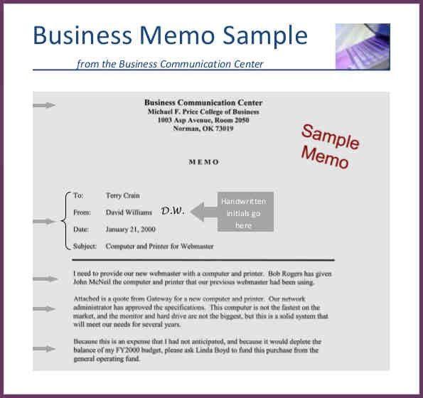 BUSINESS MEMO EXAMPLE   cvsampleform.com