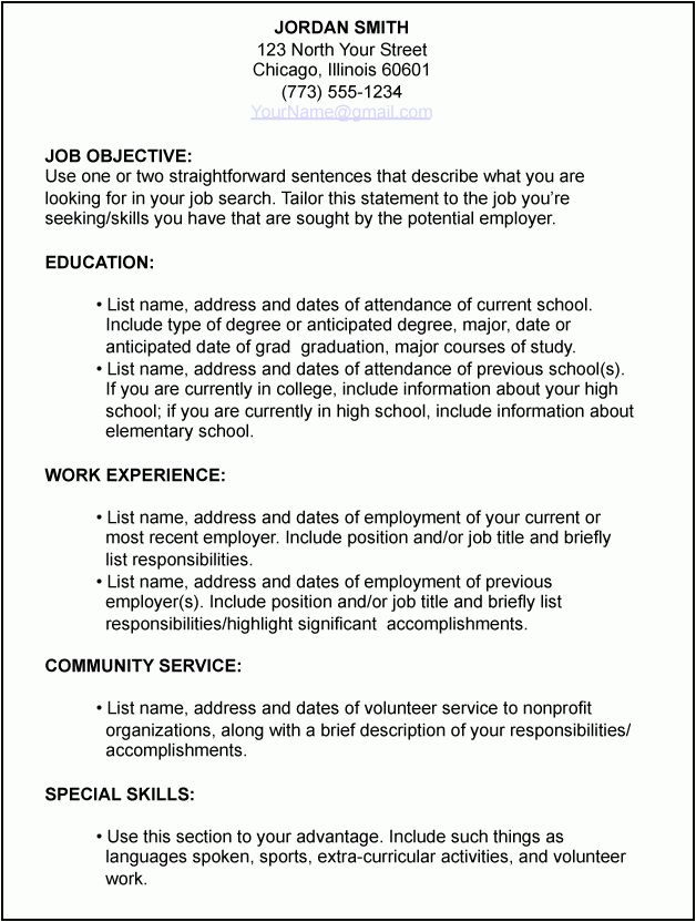 7 first time job resume examples - Budget Template Letter