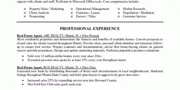 resume for real estate job