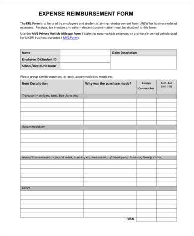 Sample Expense Reimbursement Form - 11+ Free Documents in Word ...