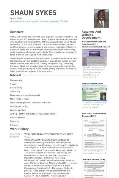 Web Consultant Resume samples - VisualCV resume samples database