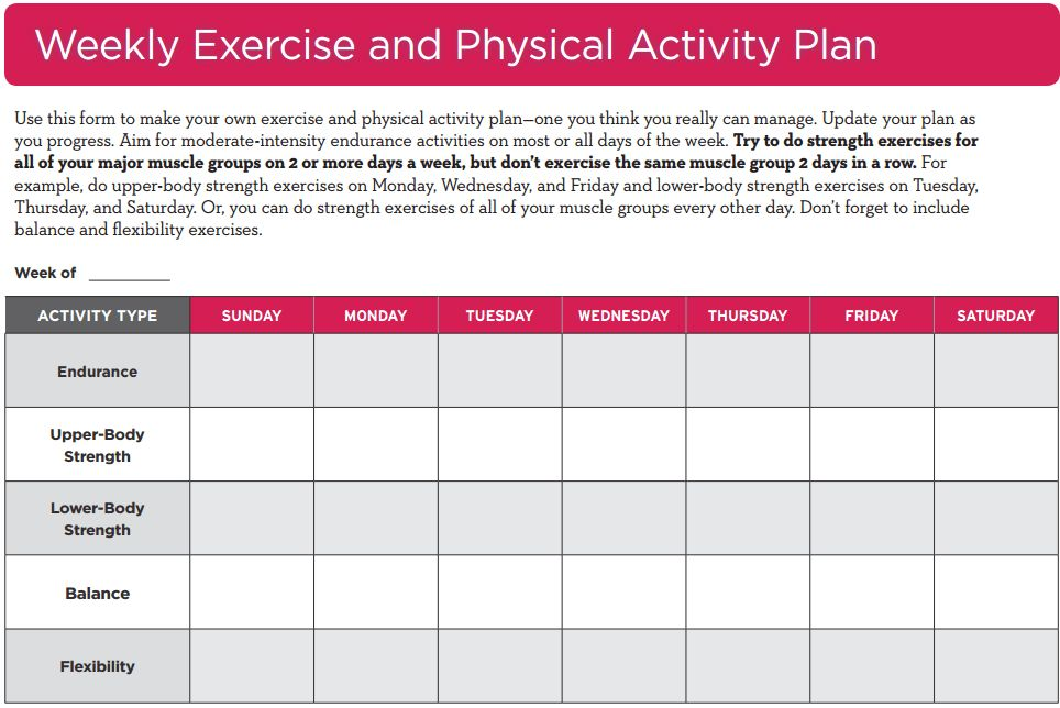 Weekly Exercise and Physical Activity Plan | Go4Life